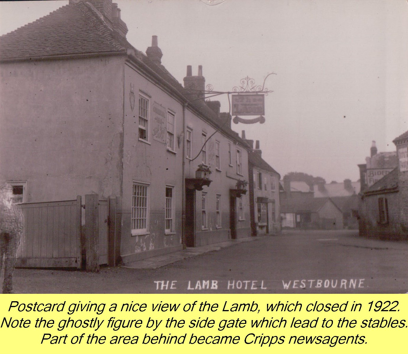 Postcard of Lamb Inn Westbourne by J Welch