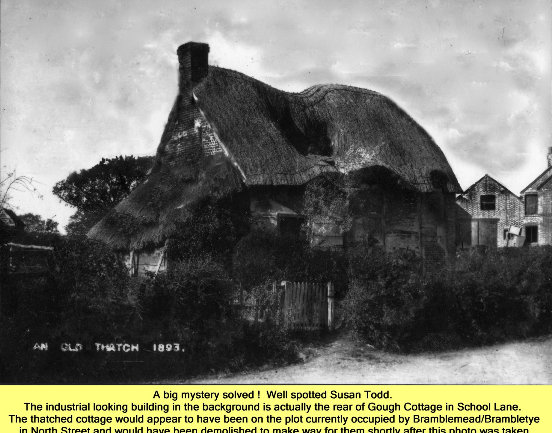 WESTBOURNE HISTORY PHOTO, NORTH STREET, THATCH, GOUGH COTTAGE, BRAMBLE, 1893
