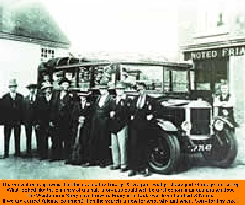 Charabanc in front of George and Dragon - probably