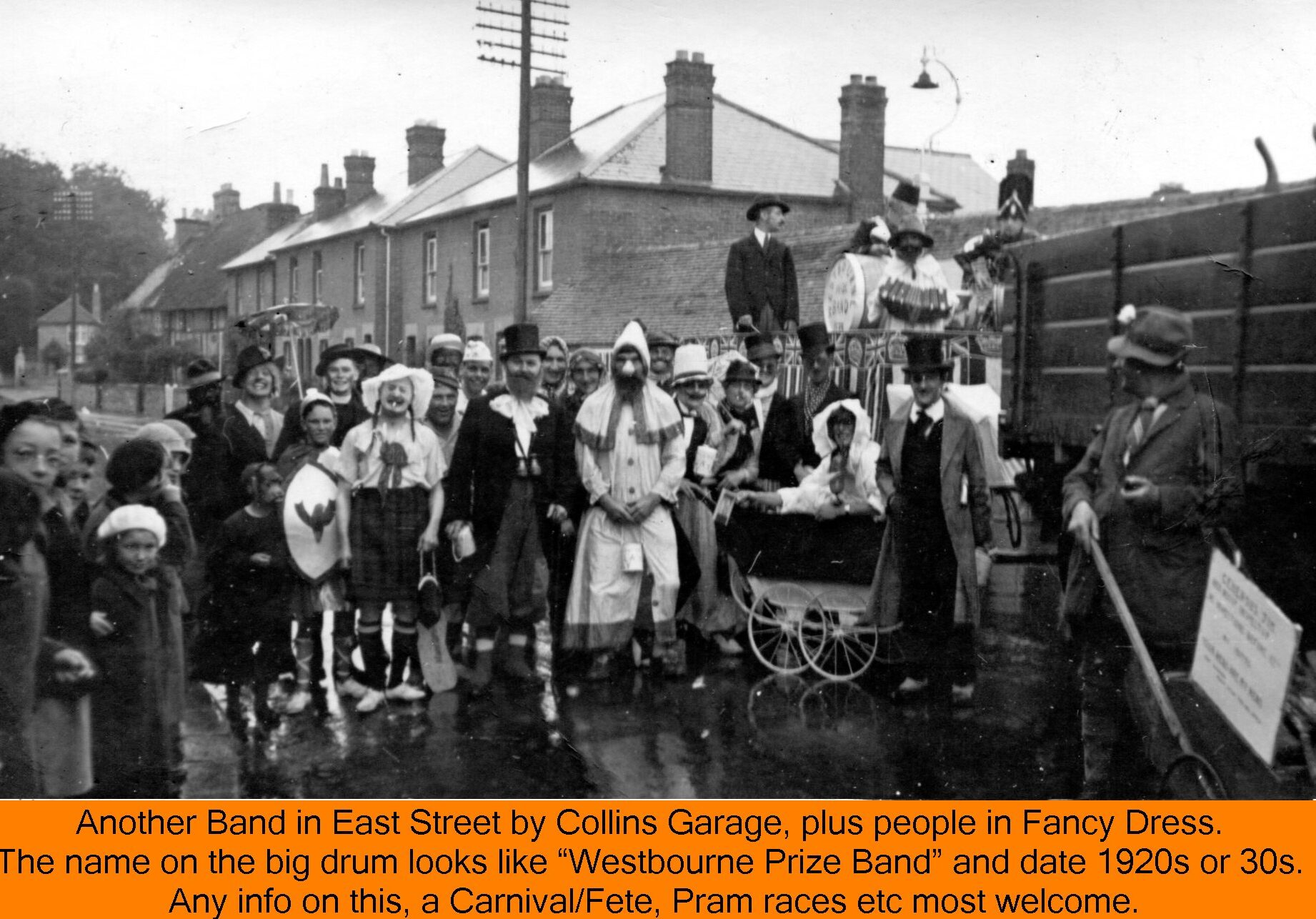 WESTBOURNE HISTORY PHOTO, PRIZE BAND, FANCY DRESS, CARNIVAL, FETE, COLLINS GARAGE, EAST STREET