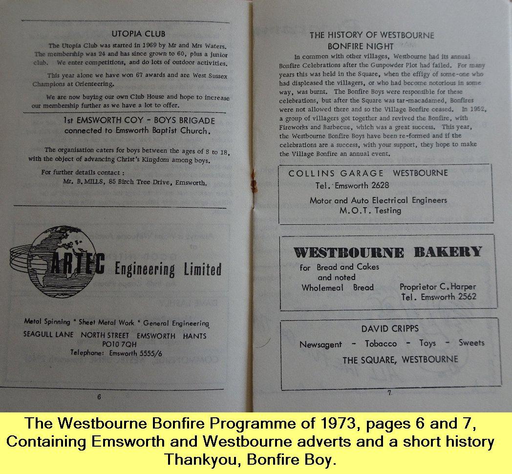 WESTBOURNE HISTORY PHOTO, BONFIRE, BOY, PROGRAMME, 1973,