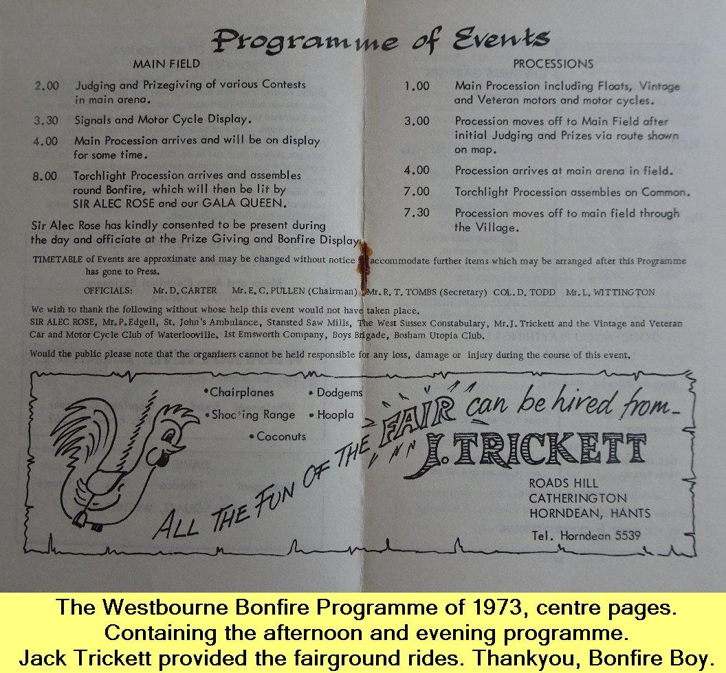 Westbourne Bonfire Programme 1973 - 3