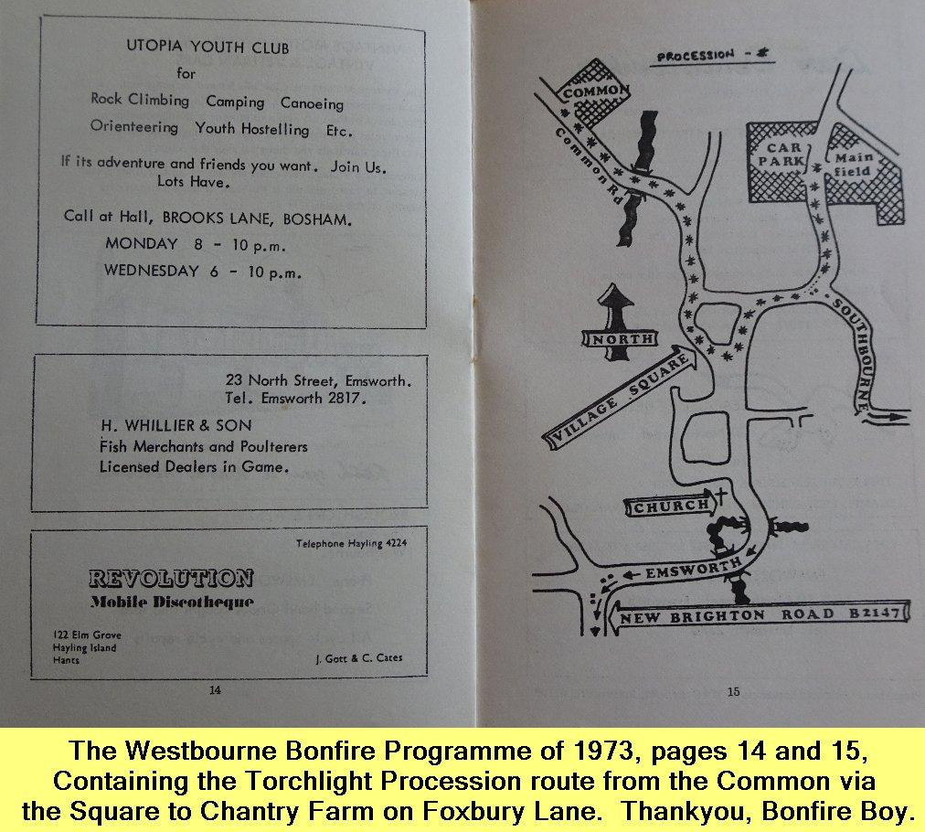 WESTBOURNE HISTORY PHOTO, BONFIRE, BOY, PROGRAMME, 1973, TORCHLIGHT PROCESSION