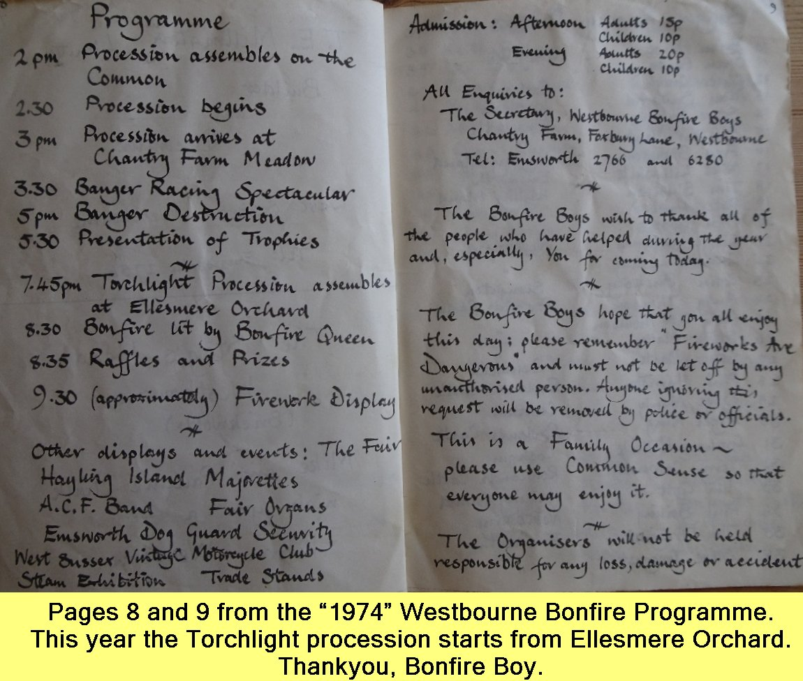 Westbourne Bonfire Programme 1974 - 3