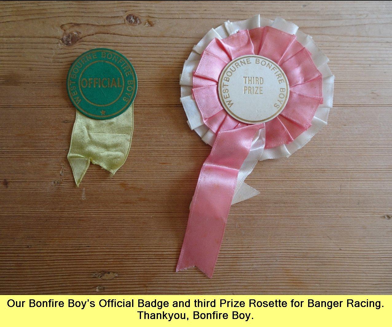 Westbourne Bonfire badges - 1973-1974 -1