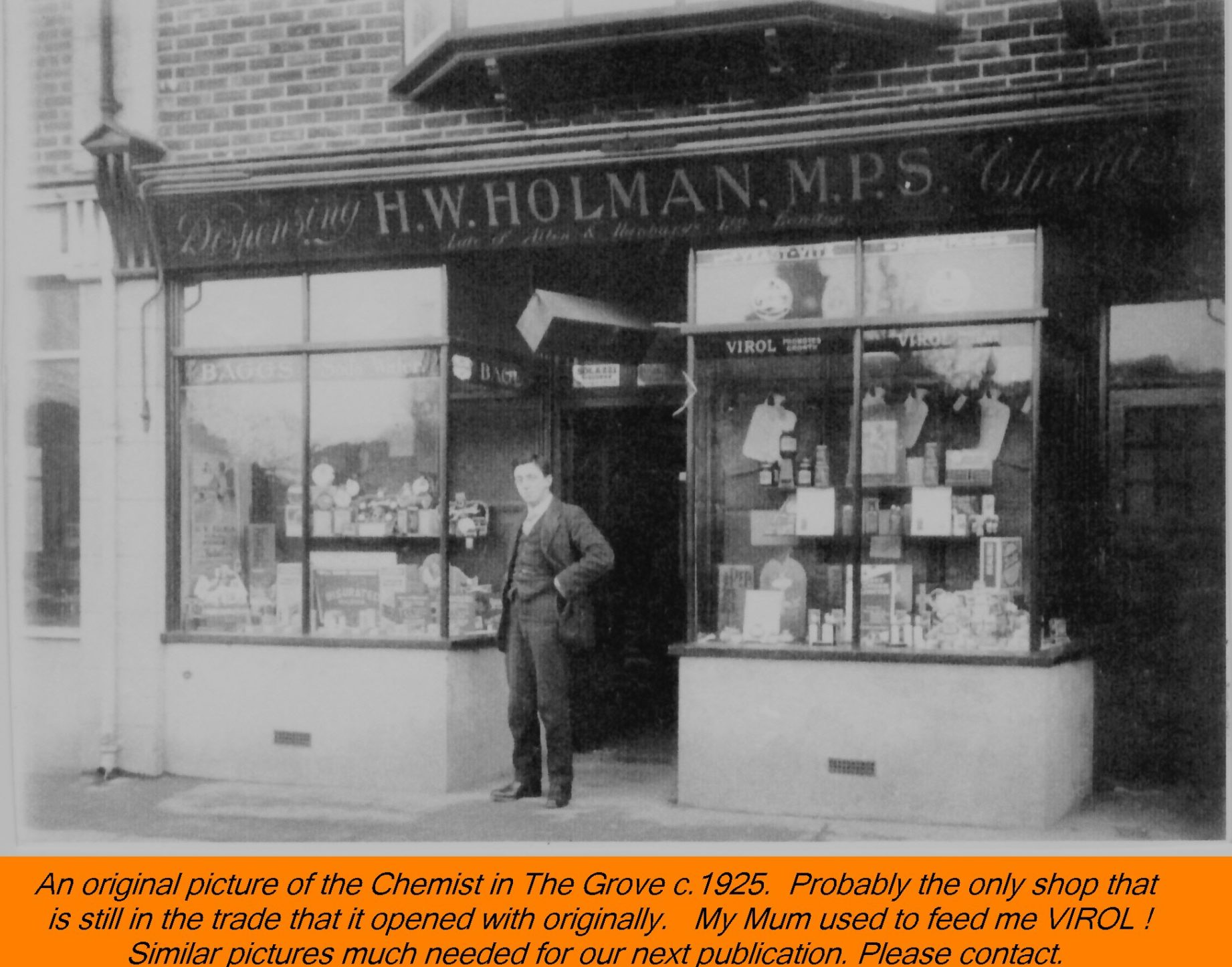 WESTBOURNE HISTORY PHOTO, GROVE, SHOPS, CHEMIST, VIROL, HOLMAN