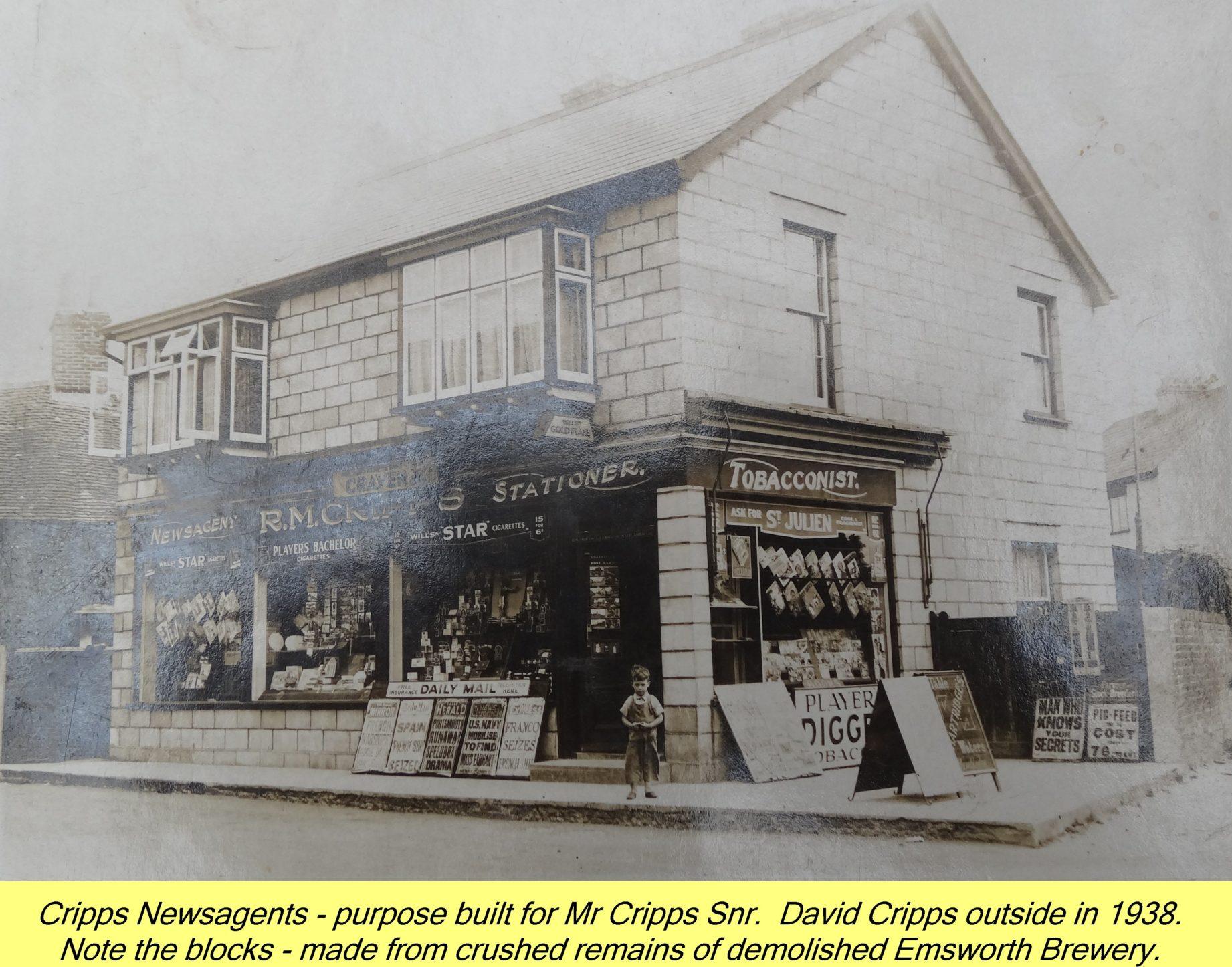 WESTBOURNE HISTORY PHOTO, CRIPPS, NEWSAGENT, NORTH STREET, EMSWORTH BREWERY