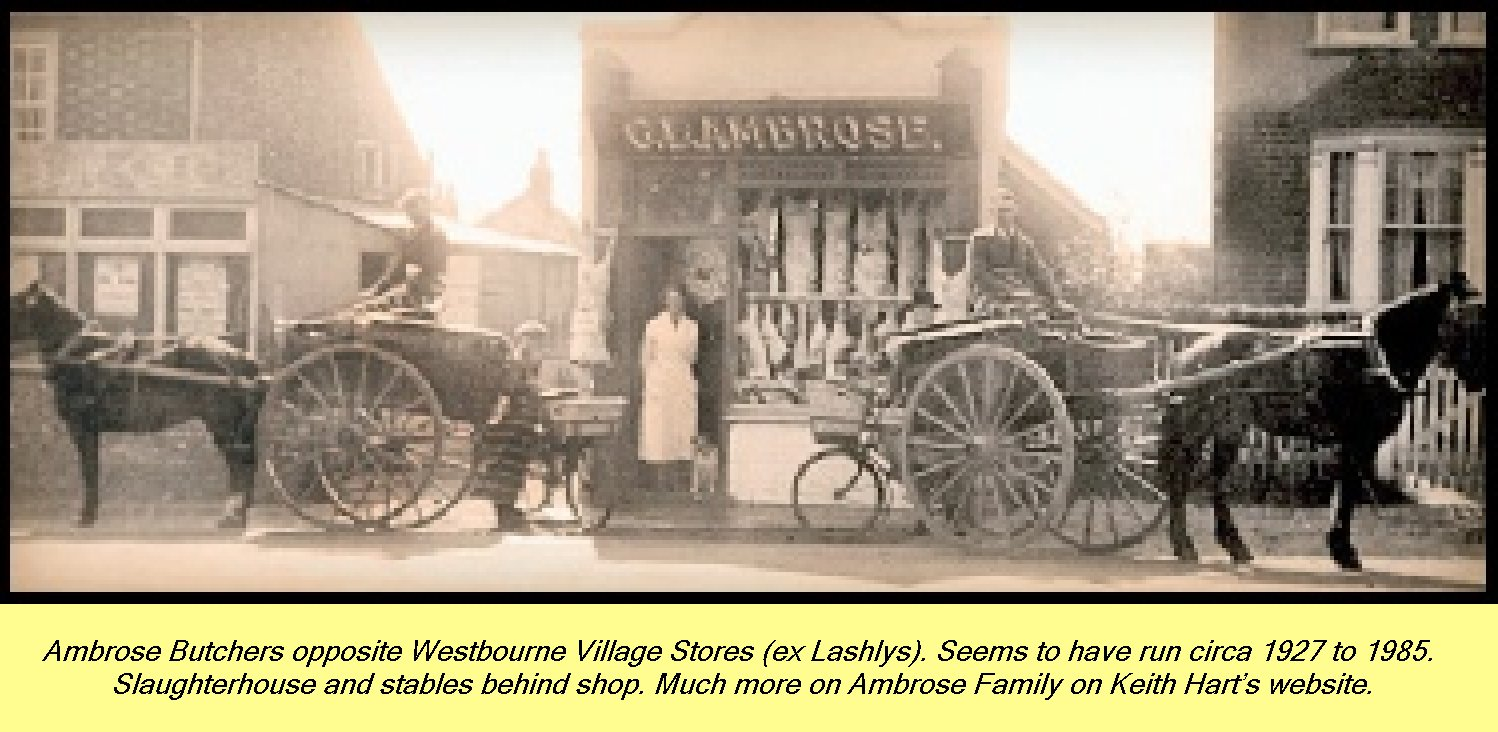 WESTBOURNE HISTORY PHOTO, AMBROSE, NORTH STREET, MONKS HILL, BUTCHER