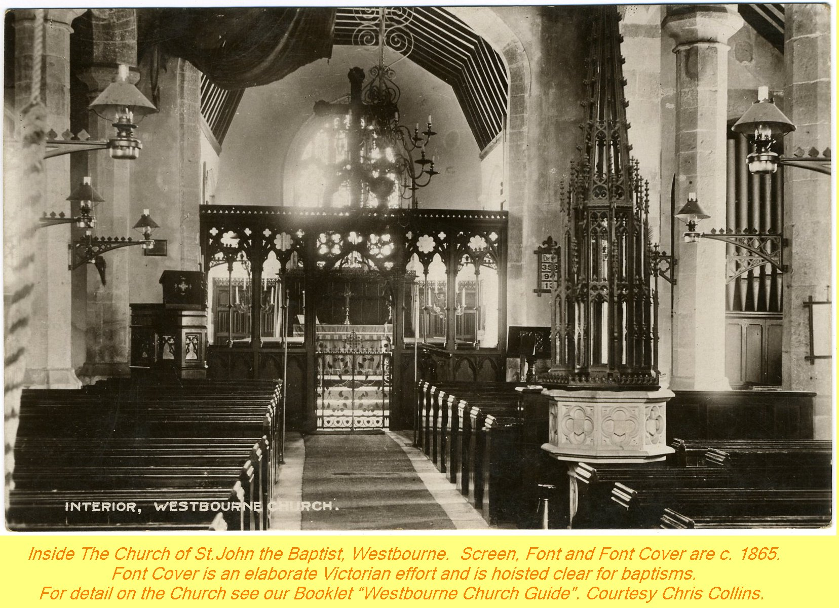 WESTBOURNE HISTORY PHOTO, CHURCH, St. JOHN, YEW, INTERIOR, SCREEN, FONT, SPERLING