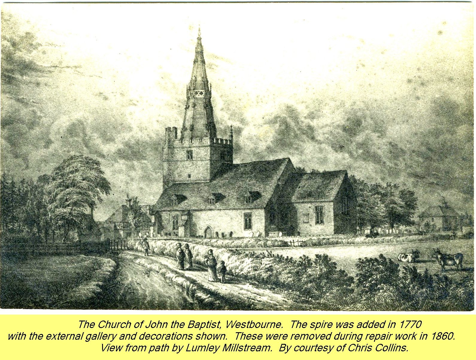WESTBOURNE HISTORY PHOTO, CHURCH, St. JOHN, YEW, SPIRE, 1770, LUMLEY MILLSTREAM