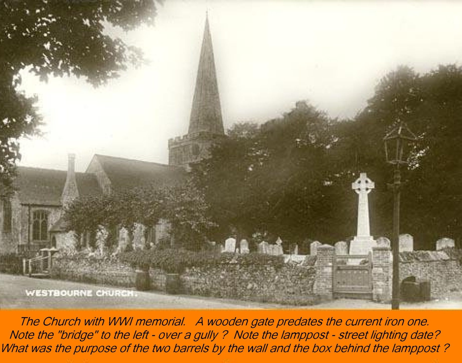 WESTBOURNE HISTORY PHOTO, CHURCH, St. JOHN, YEW, INTERIOR, SCREEN, MEMORIAL, CHURCHYARD