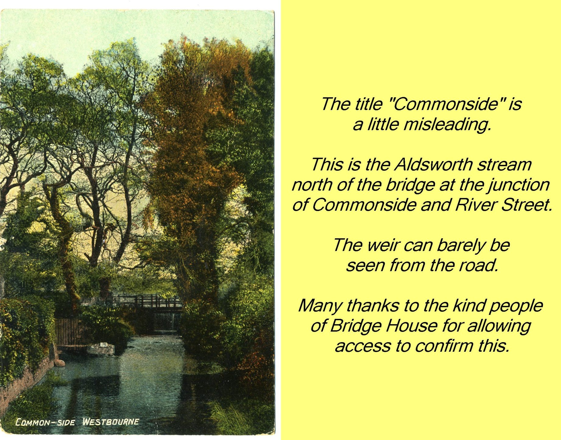 WESTBOURNE HISTORY PHOTO, COMMONSIDE, WEIR, BRIDGE HOUSE