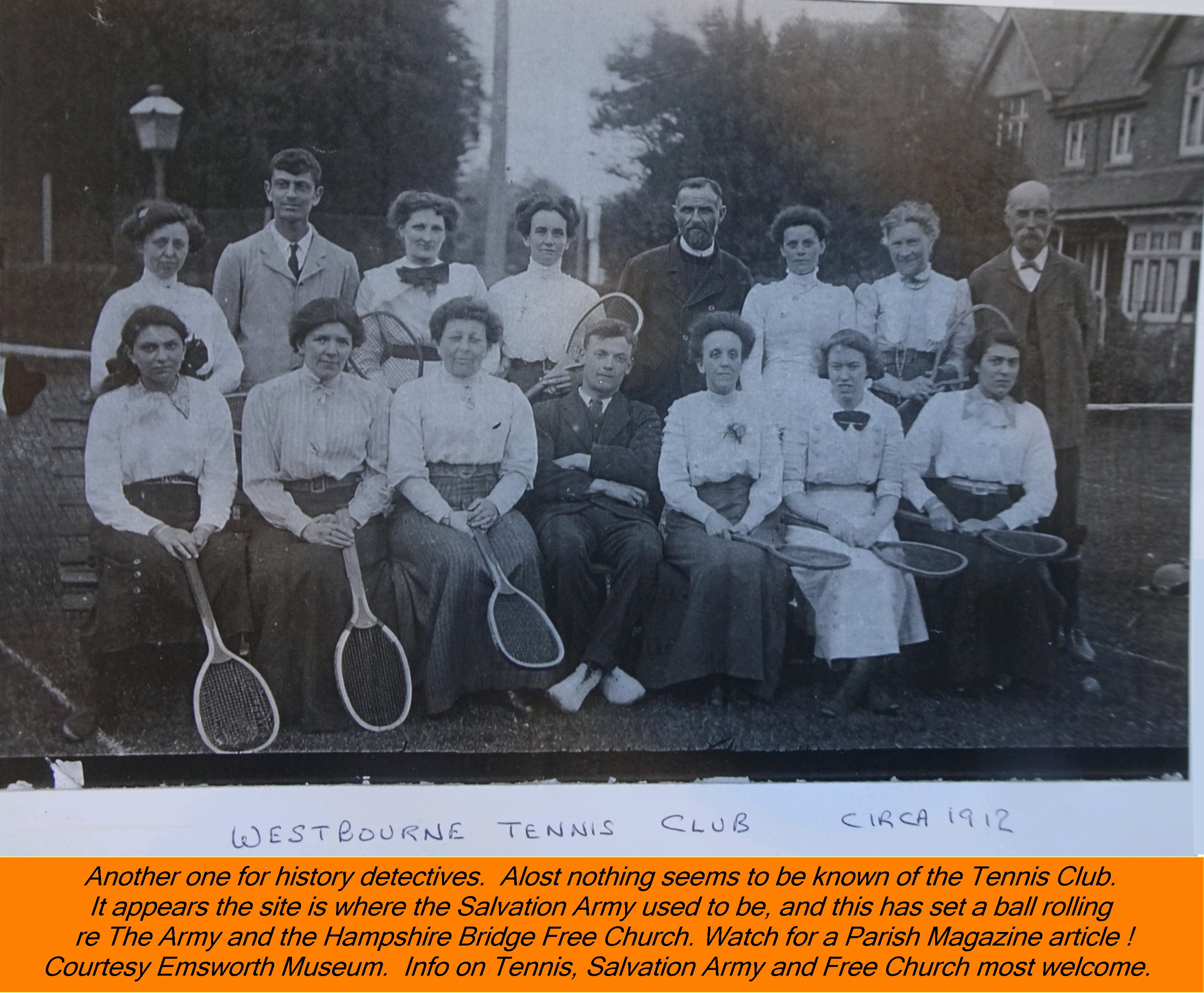 WESTBOURNE HISTORY PHOTO, TENNIS CLUB, 1912, SALVATION ARMY, FREE CHURCH