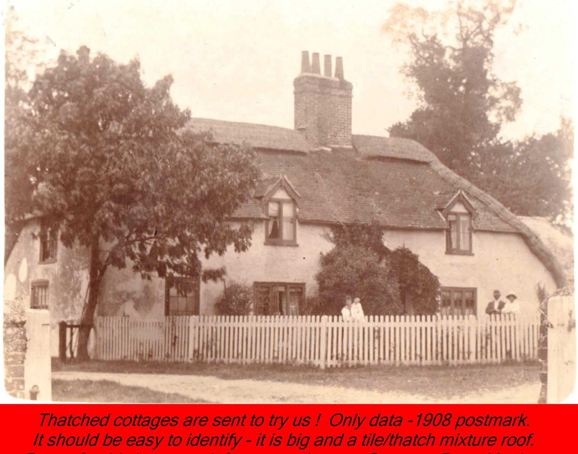 WESTBOURNE HISTORY PHOTO, THATCH, COTTAGE, MYSTERY, 1908