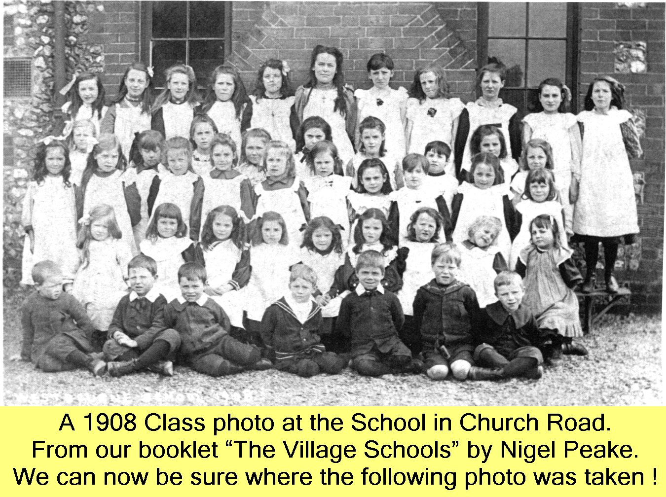 WESTBOURNE HISTORY PHOTO, SCHOOL, CHURCH ROAD, CLASS, 1908, VILLAGE SCHOOLS