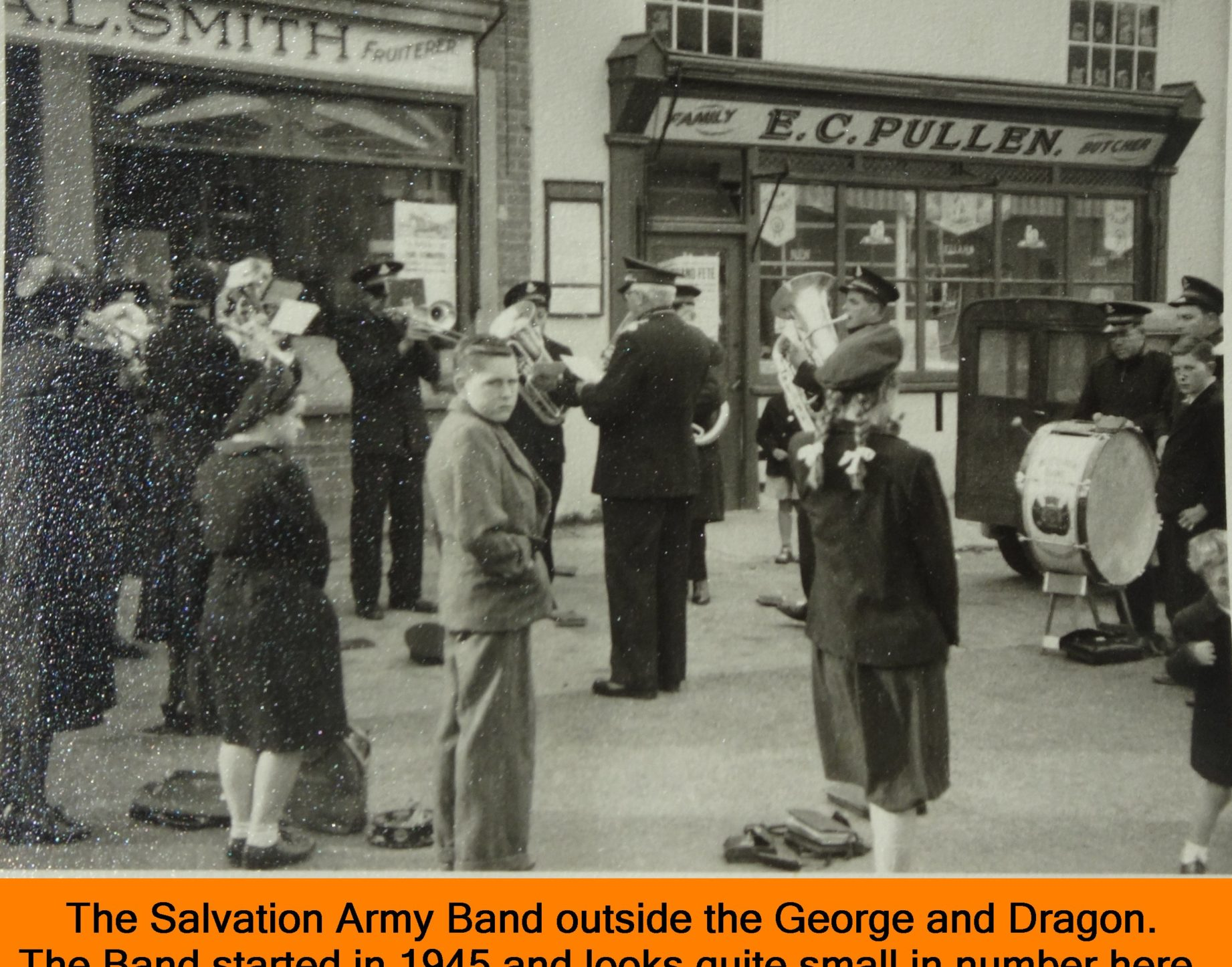 WESTBOURNE HISTORY PHOTO, SALVATION ARMY, BAND, SQUARE, GEORGE AND DRAGON, LAURIE MOSS