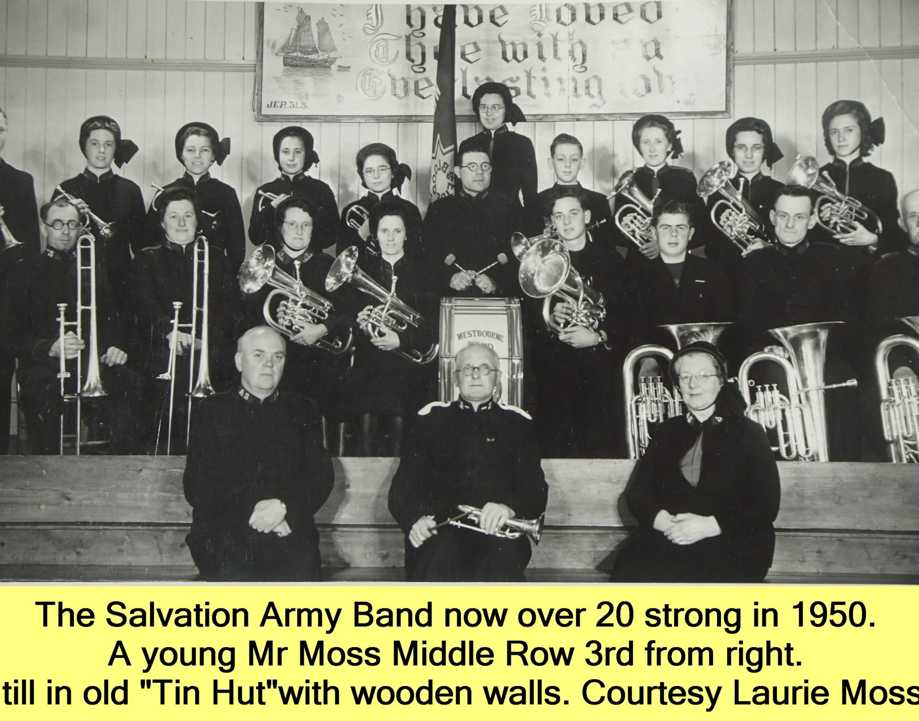 WESTBOURNE HISTORY PHOTO, SALVATION ARMY, BAND, TIN HUT, LAURIE MOSS