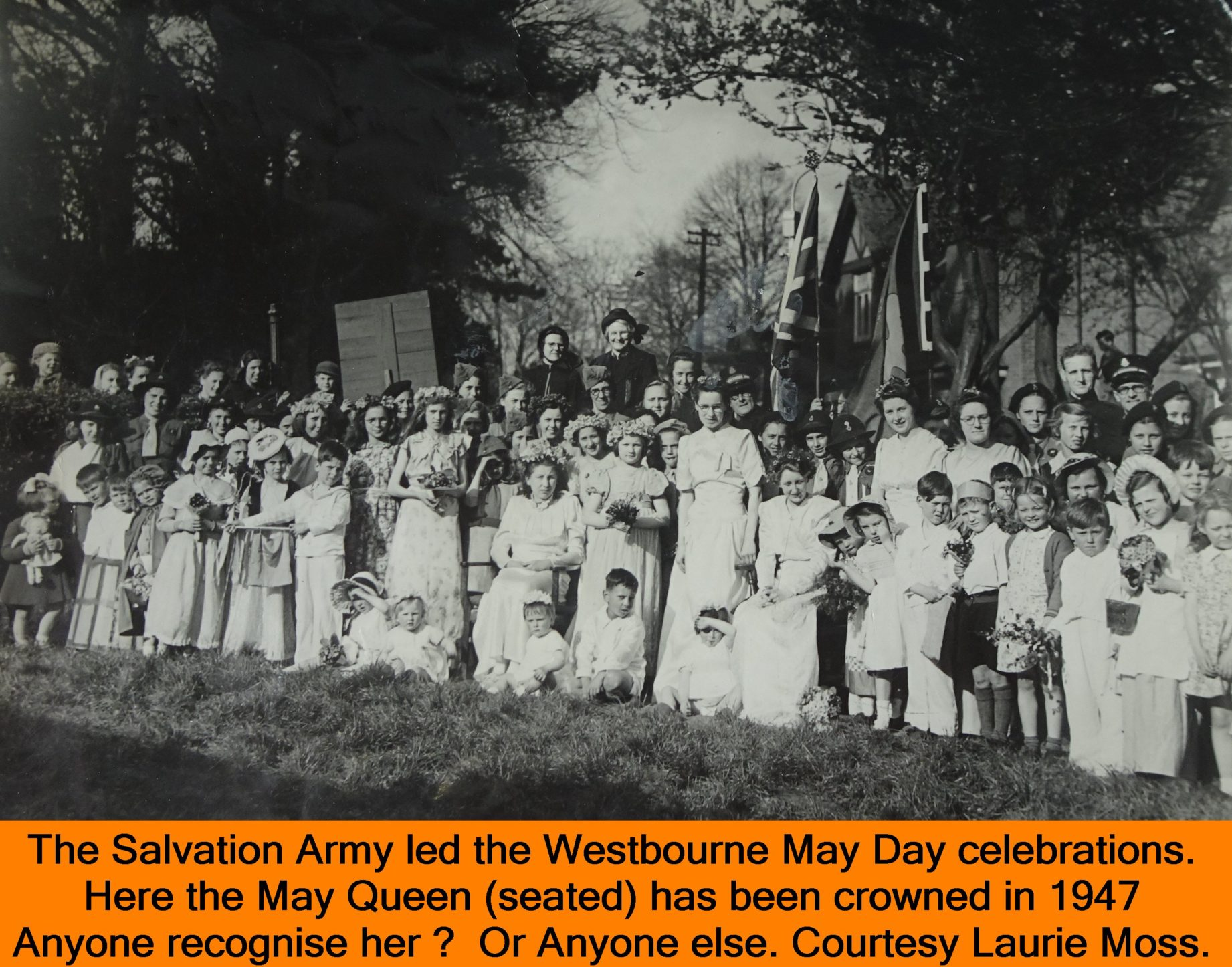 WESTBOURNE HISTORY PHOTO, SALVATION ARMY, BAND, MAY DAY, QUEEN, 1947, LAURIE MOSS,