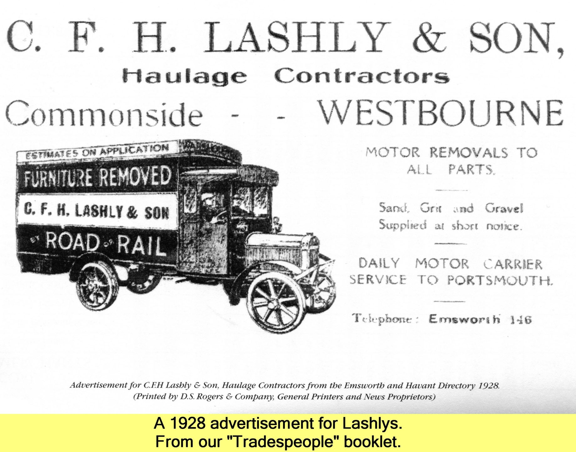 WESTBOURNE HISTORY PHOTO, LASHLY, HAULIER, ADVERT, 1928, TRADESPEOPLE