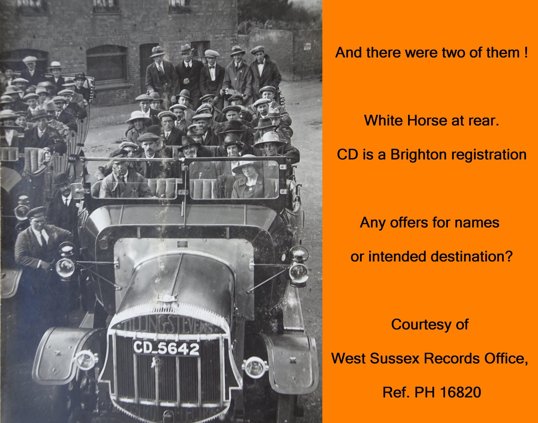 WESTBOURNE HISTORY PHOTO, CHARABANC OUTING , WHITE HORSE