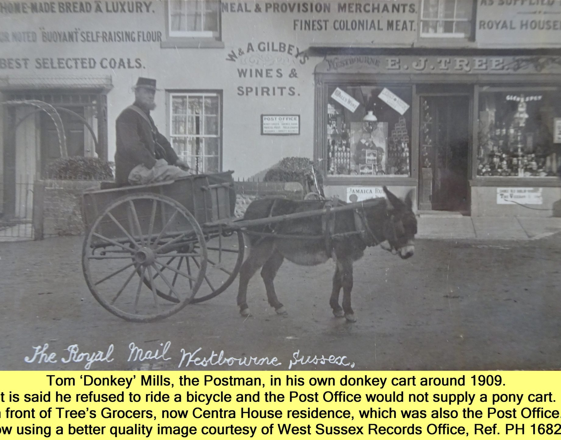 WESTBOURNE HISTORY PHOTO, TOM 'DONKEY' MILLS, POSTMAN, DONKEY CART, TREES GROCER, CENTRA HOUSE, THE SQUARE