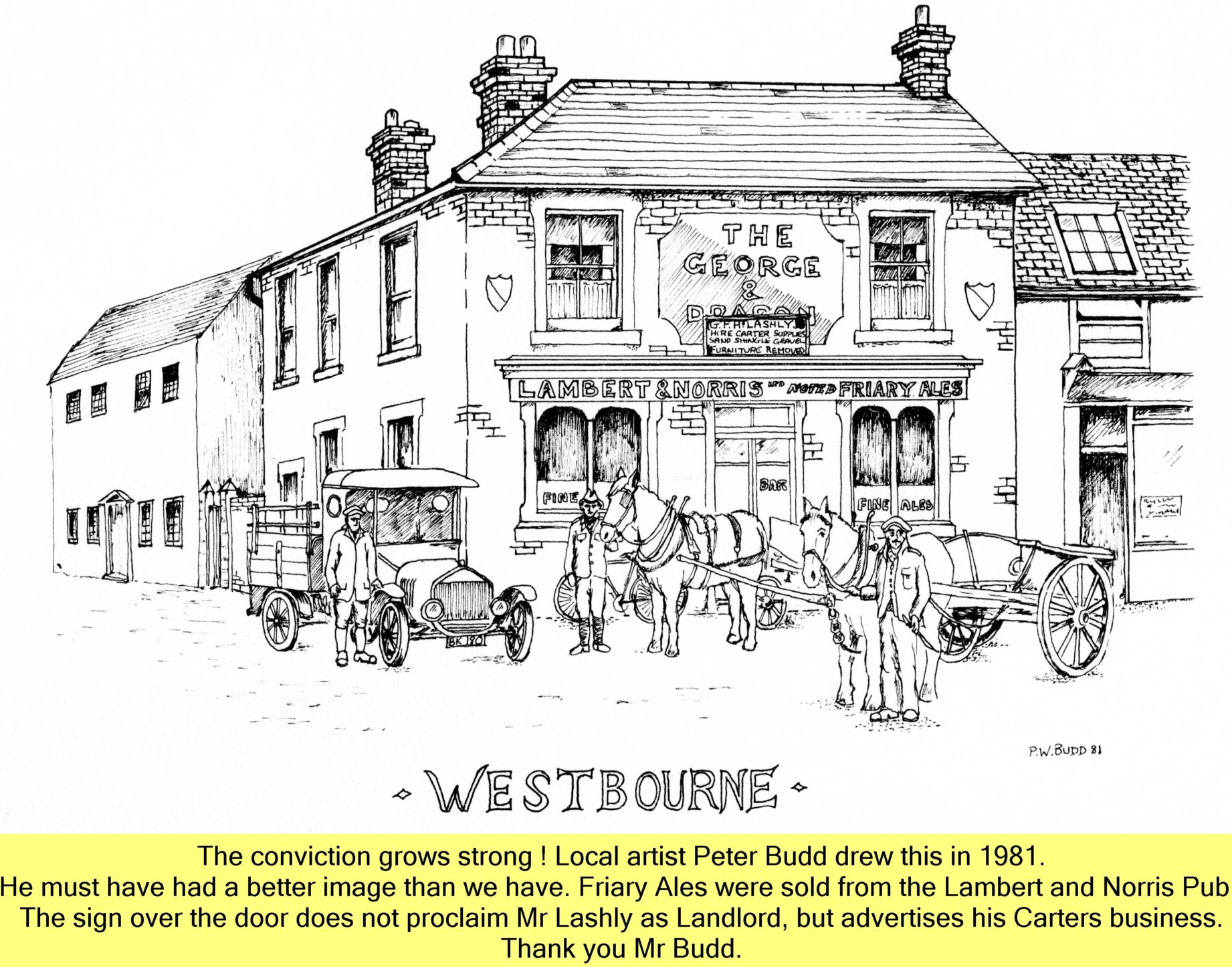 WESTBOURNE HISTORY PHOTO, GEORGE AND DRAGON, FRIARY ALE, LAMBERT AND NORRIS, LASHLY