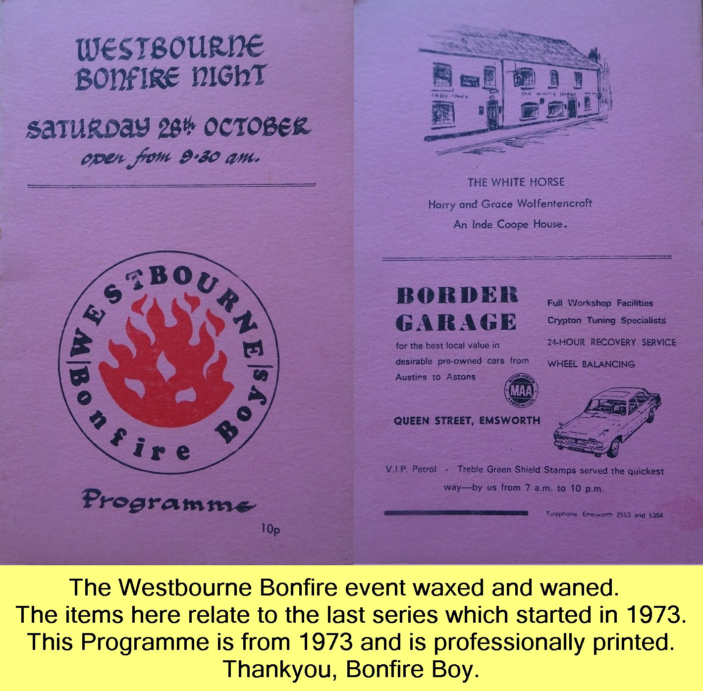 WESTBOURNE HISTORY PHOTO, BONFIRE, BOY, PROGRAMME, 1973