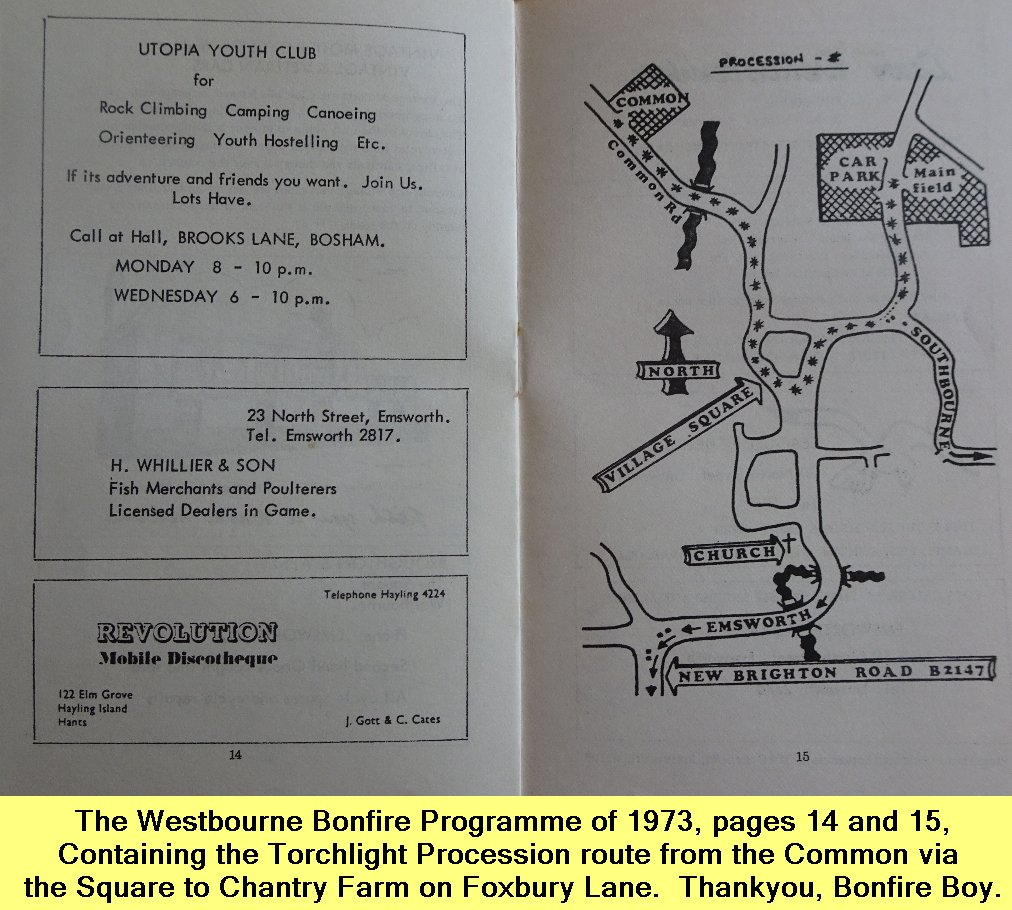 WESTBOURNE HISTORY PHOTO, BONFIRE, BOY, PROGRAMME, 1973, TORCHLIGHT PROCESSION