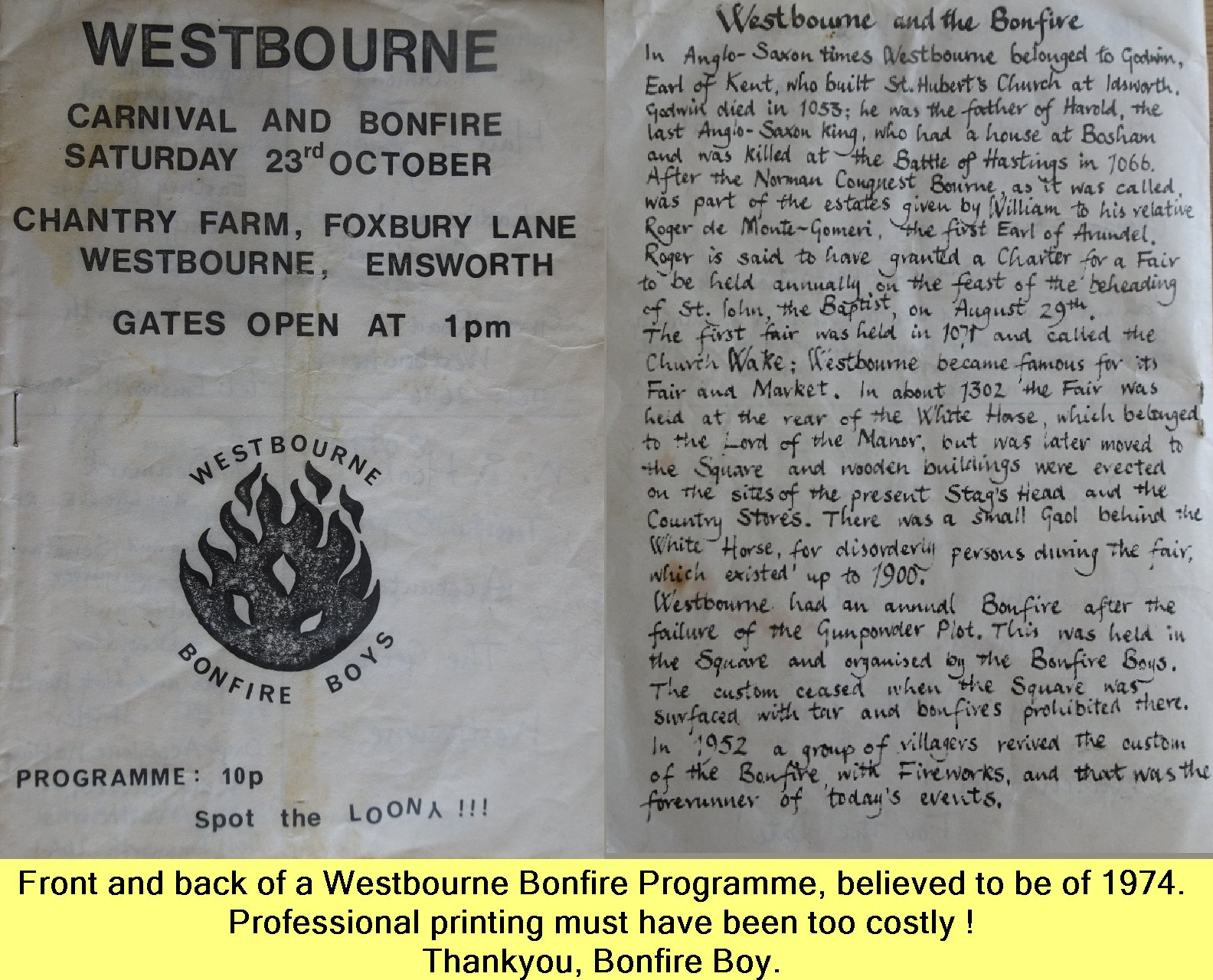 WESTBOURNE HISTORY PHOTO, BONFIRE, BOY, PROGRAMME, 1974,