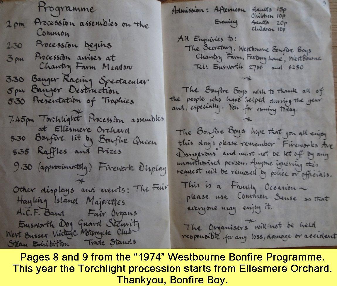 WESTBOURNE HISTORY PHOTO, BONFIRE, BOY, PROGRAMME, 1974, TORCHLIGHT PROCESSION