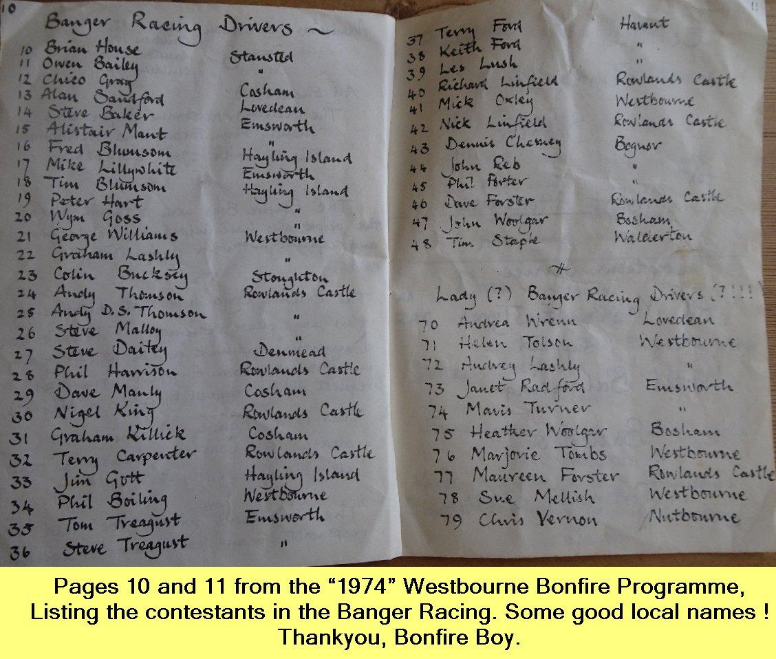 WESTBOURNE HISTORY PHOTO, BONFIRE, BOY, PROGRAMME, 1974, BANGER RACING