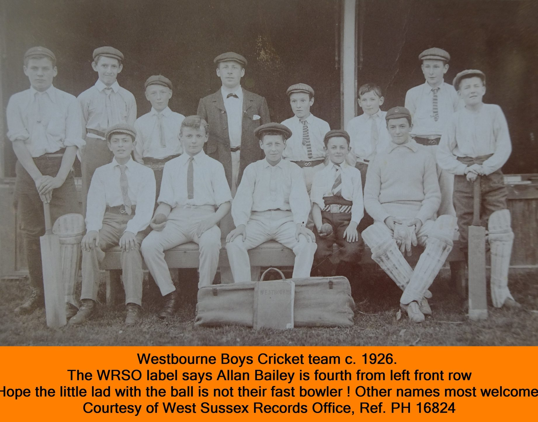 WESTBOURNE HISTORY PHOTO, BOYS CRICKET TEAM , 1926