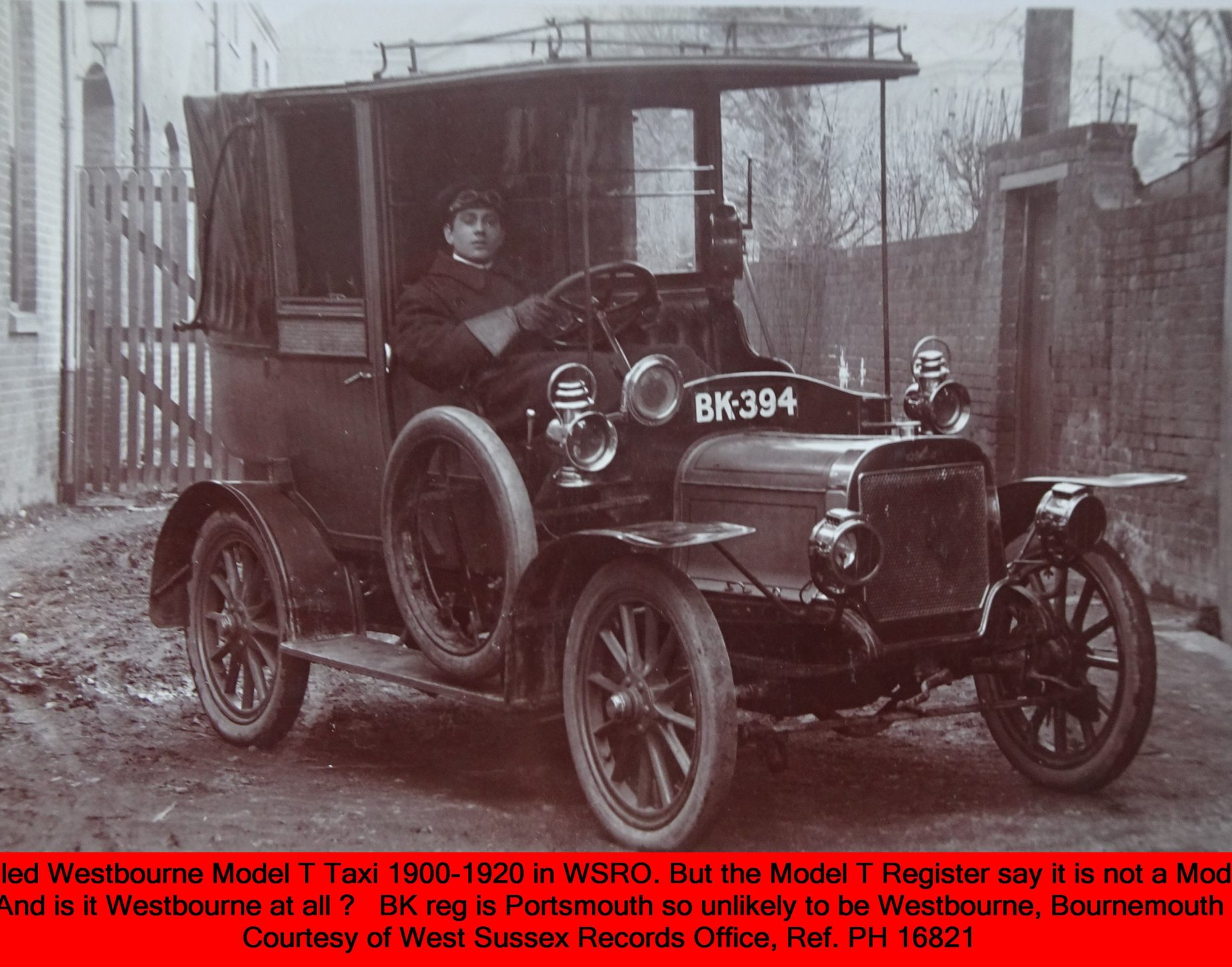 WESTBOURNE HISTORY PHOTO, TAXI , MODEL T, BK 394