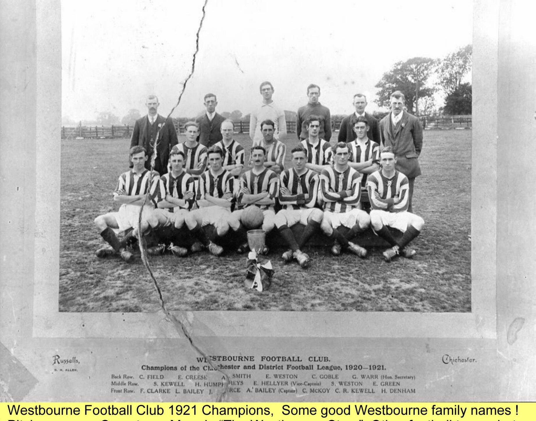 WESTBOURNE HISTORY PHOTO, WESTBOURNE FOOTBALL CLUB, 1921, PITCH FAMILY NAMES