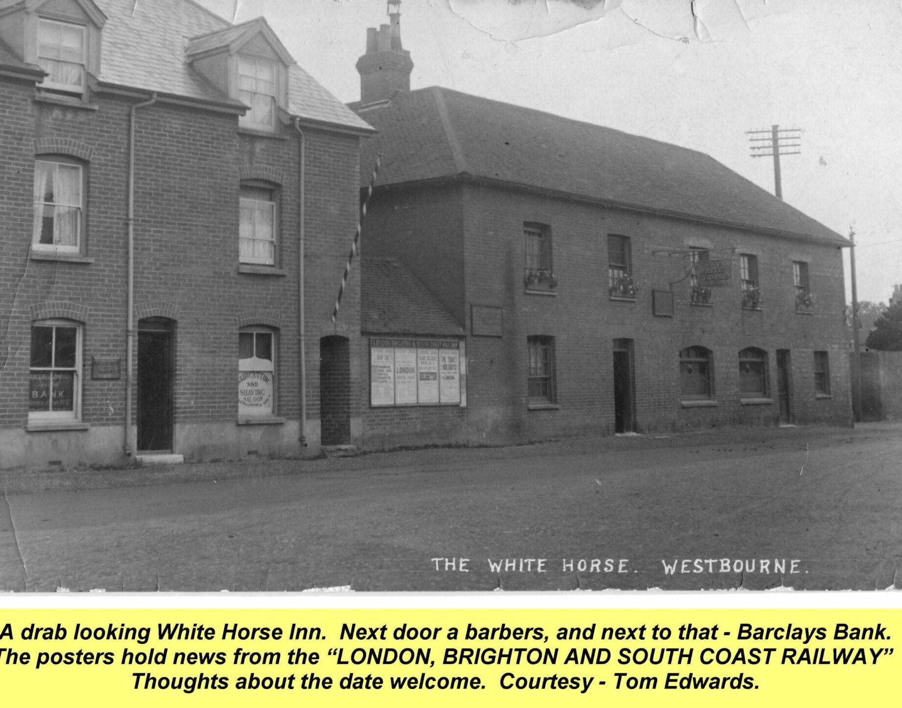 WESTBOURNE HISTORY PHOTO,SQUARE, Barclay, barber white horse SQUARE, GROCER, TREE, COMBER. MANCHIP, COUNTRY STORE, CENTRA