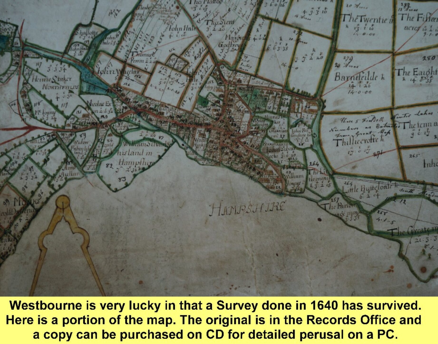 WESTBOURNE HISTORY PHOTO, 1640 Survey map