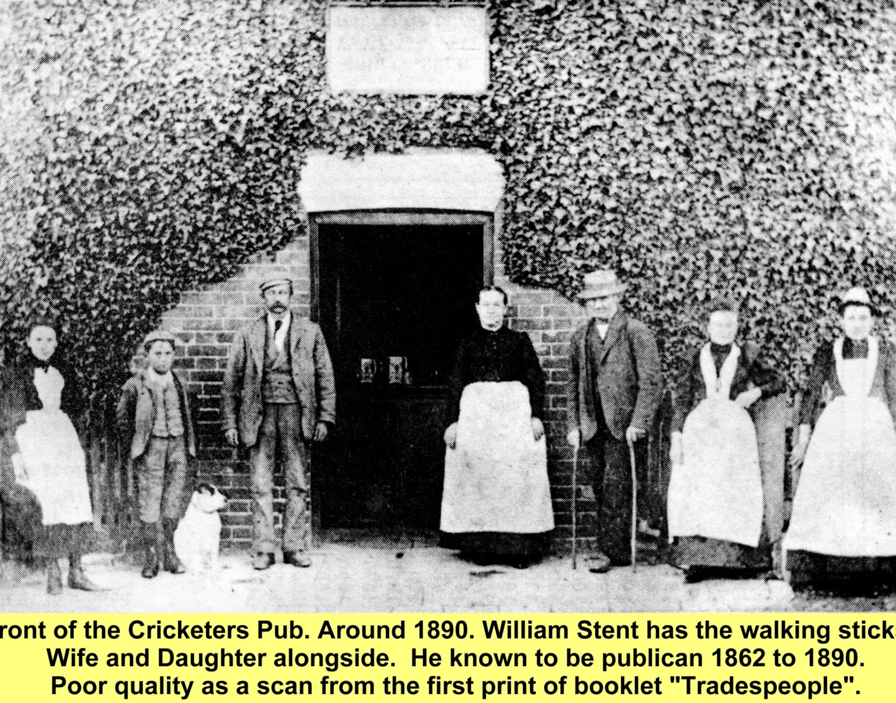 WESTBOURNE HISTORY PHOTO, CRICKETERS, PUB, COMMONSIDE, 1890, PUBLICAN, Stent,