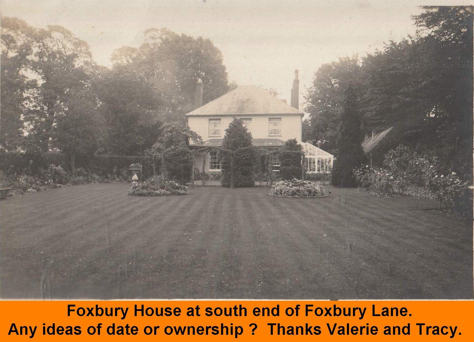 WESTBOURNE HISTORY PHOTO, FOXBURY HOUSE
