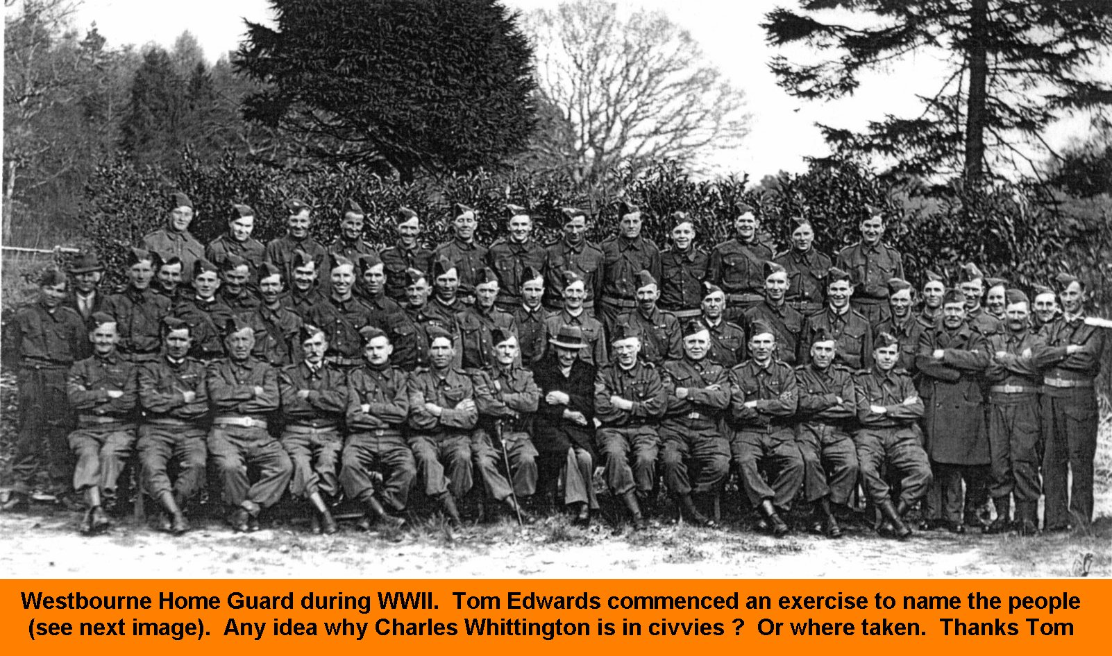 WESTBOURNE HISTORY PHOTO, WESTBOURNE HOME GUARD, WWII, CHARLES WHITTINGTON