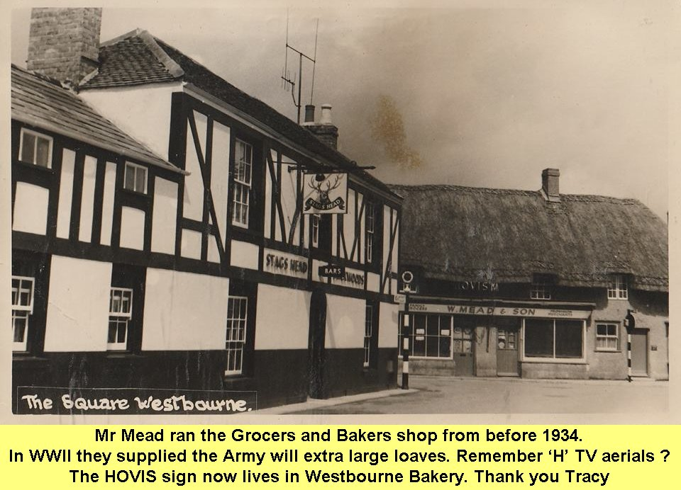 WESTBOURNE HISTORY PHOTO, SQUARE, GROCER, MEAD,BAKER,HOVIS,STAGS HEAD