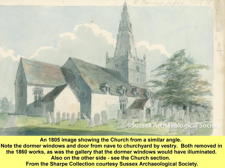 WESTBOURNE HISTORY PHOTO, CHURCH ST JOHN, GALLERY, TOWER, 1860, SHARPE