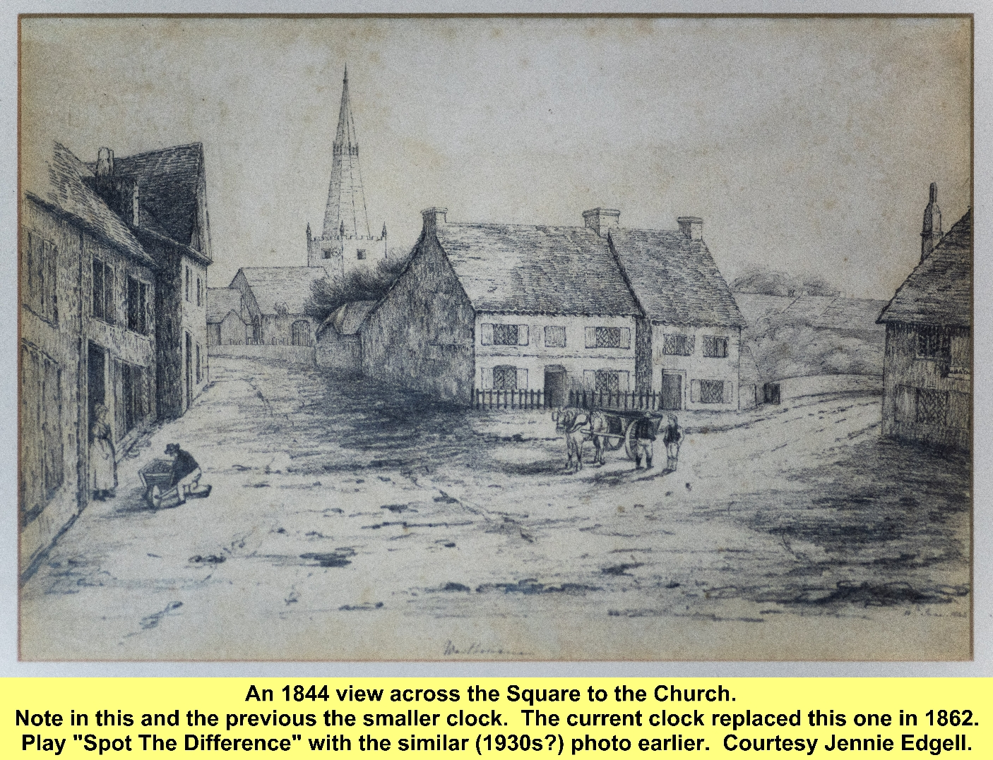 WESTBOURNE HISTORY PHOTO, SQUARE, LEDGER, CHURCH TOWER, CLOCK, 1862
