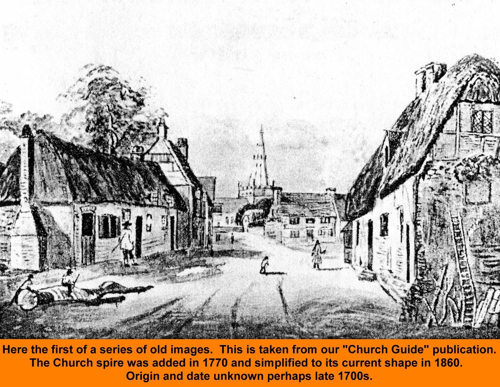 WESTBOURNE HISTORY PHOTO, CENTRE, SQUARE, CHURCH TOWER SPIRE, 1770, GUIDE, EARLY DRAWING