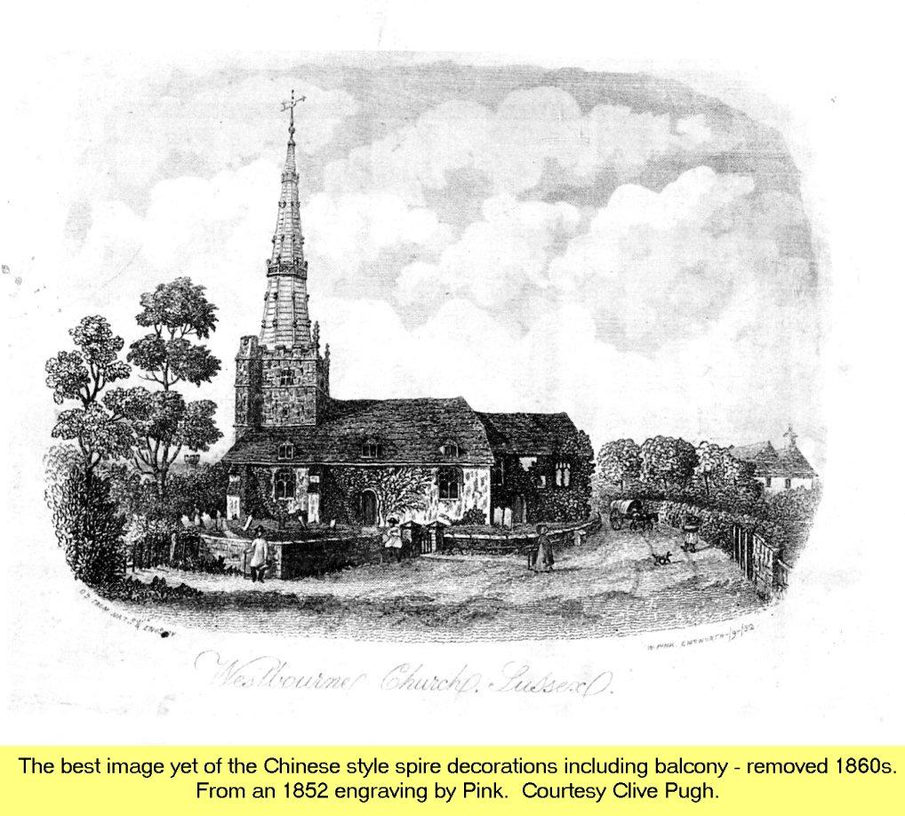 WESTBOURNE HISTORY PHOTO, CHURCH, St. JOHN, YEW, SPIRE, 1770, PINK 1852
