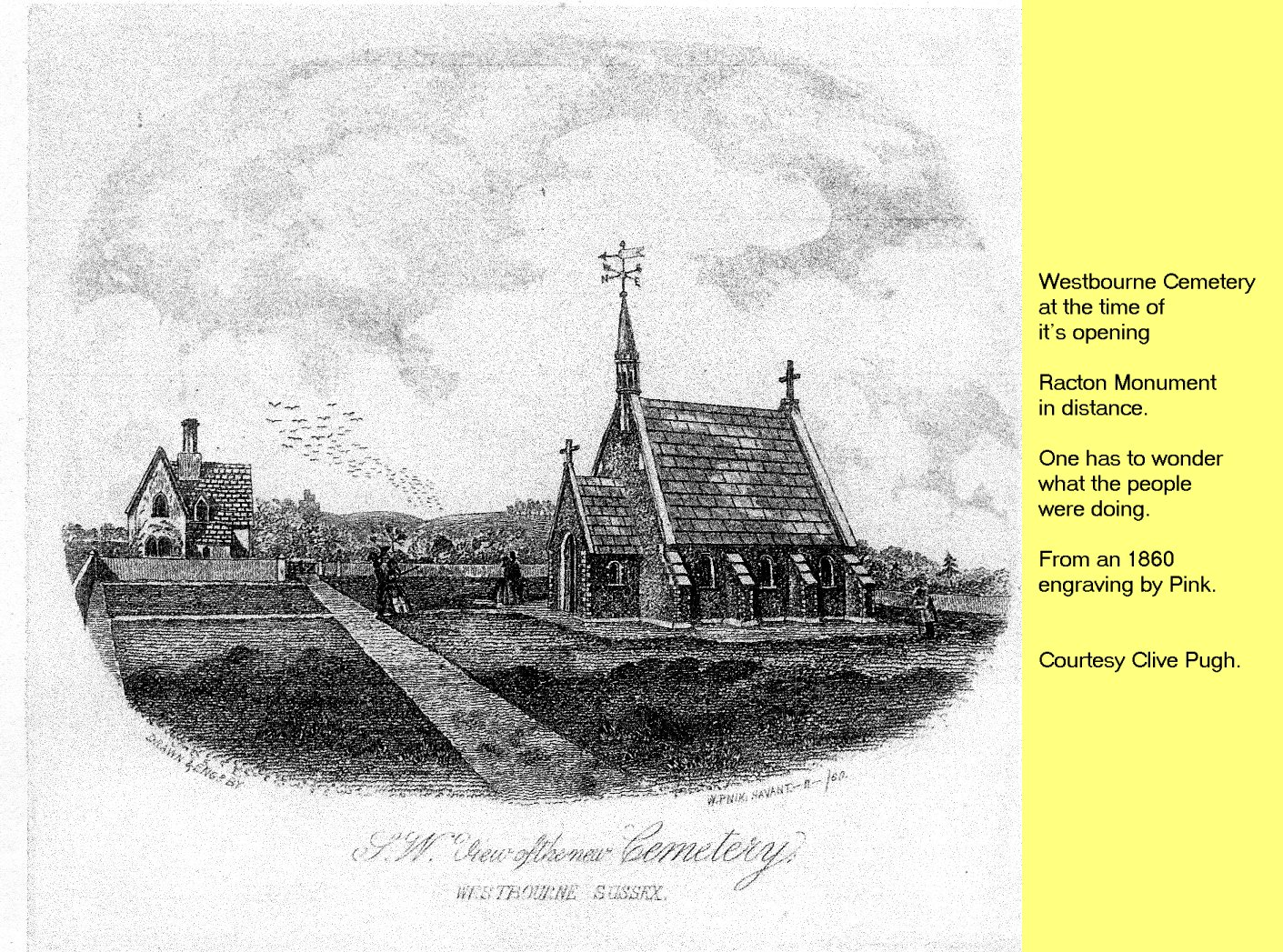 WESTBOURNE HISTORY PHOTO, CEMETERY, OPENING, PINK 1860
